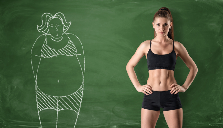 Sporty girl with slim body and picture of fat woman